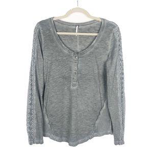 Free People Lace Crochet Sleeve Henley Gray Medium